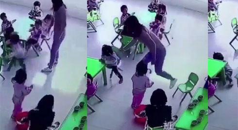 Cô giáo mầm non bất ngờ rút ghế khiến bé gái ngã ngửa gây phẫn nộ