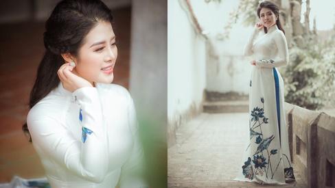 Ngắm trọn vẻ đẹp dịu dàng người con gái Việt trong thiết kế áo dài của Nữ hoàng Hoa hồng Bùi Thanh Hương