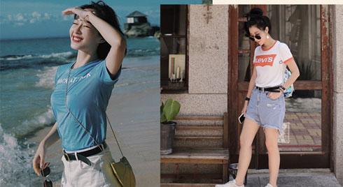 Mùa hè nóng nực, các nàng hãy cập nhật ngay công thức mix đồ với t-shirt để vừa mát mẻ lại không bị nhạt nhoà