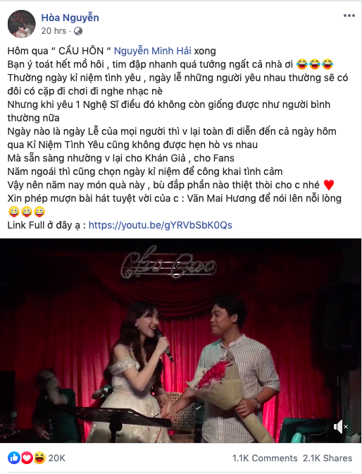 Hòa Minzy  bất ngờ quỳ gối cầu hôn bạn trai nhân kỷ niệm 2 năm yêu nhau-1