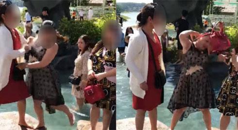 """Tranh nhau vị trí chụp ảnh ở Đà Lạt, 2 phụ nữ lao vào """"ẩu đả"""" ngay giữa hồ nước"""