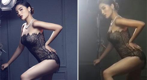 Hoa hậu Kỳ Duyên lộ ảnh 'tầng lớp mỡ' khác gì mẹ bỉm sữa trong hậu trường quảng bá thẩm mỹ viện