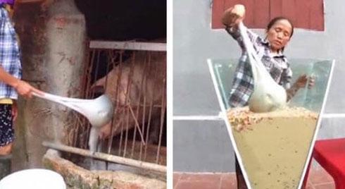 """Xôn xao hình ảnh Bà Tân Vlog dùng 1 chiếc muôi vừa cho lợn ăn, vừa nấu những món """"siêu to khổng lồ"""""""