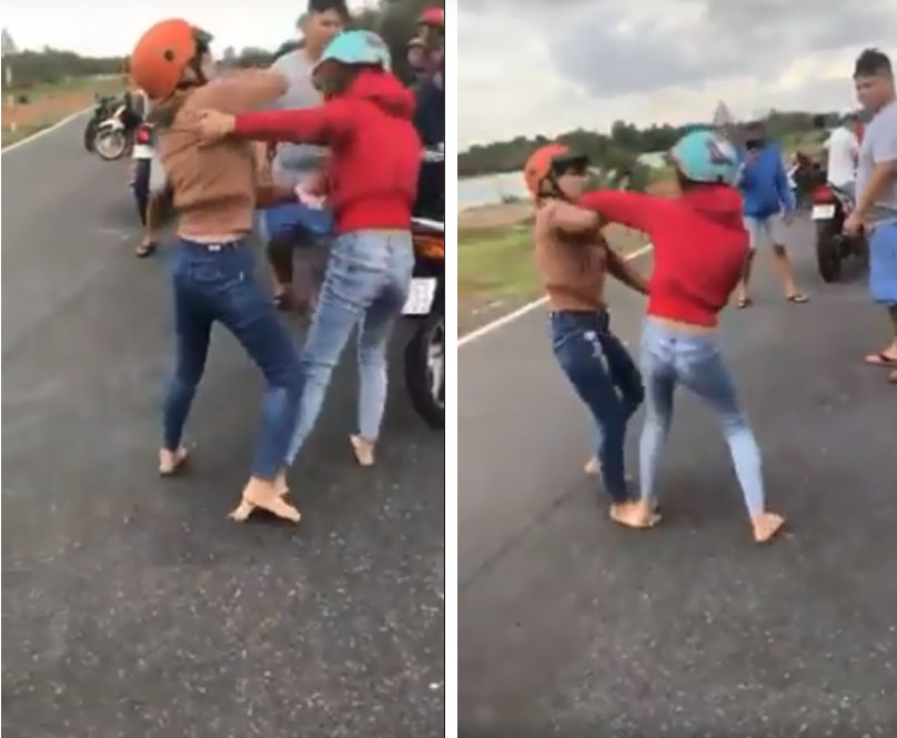 Hai cô gái đánh nhau như phim ngay giữa đường, bạn bè đứng ngoài hò reo, cổ vũ?-3