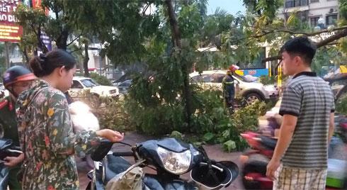 Bão số 4 đang di chuyển vào đất liền, Hà Nội mưa gió khủng khiếp, đã có 1 người chết do cây xanh đè trúng