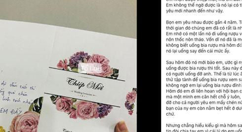 """Yêu 4 năm, mới chia tay 2 tháng đã được người yêu cũ mời đi ăn cưới, nhưng sốc hơn cả là dòng """"tâm tình"""" nhắn gửi sau mặt thiếp"""