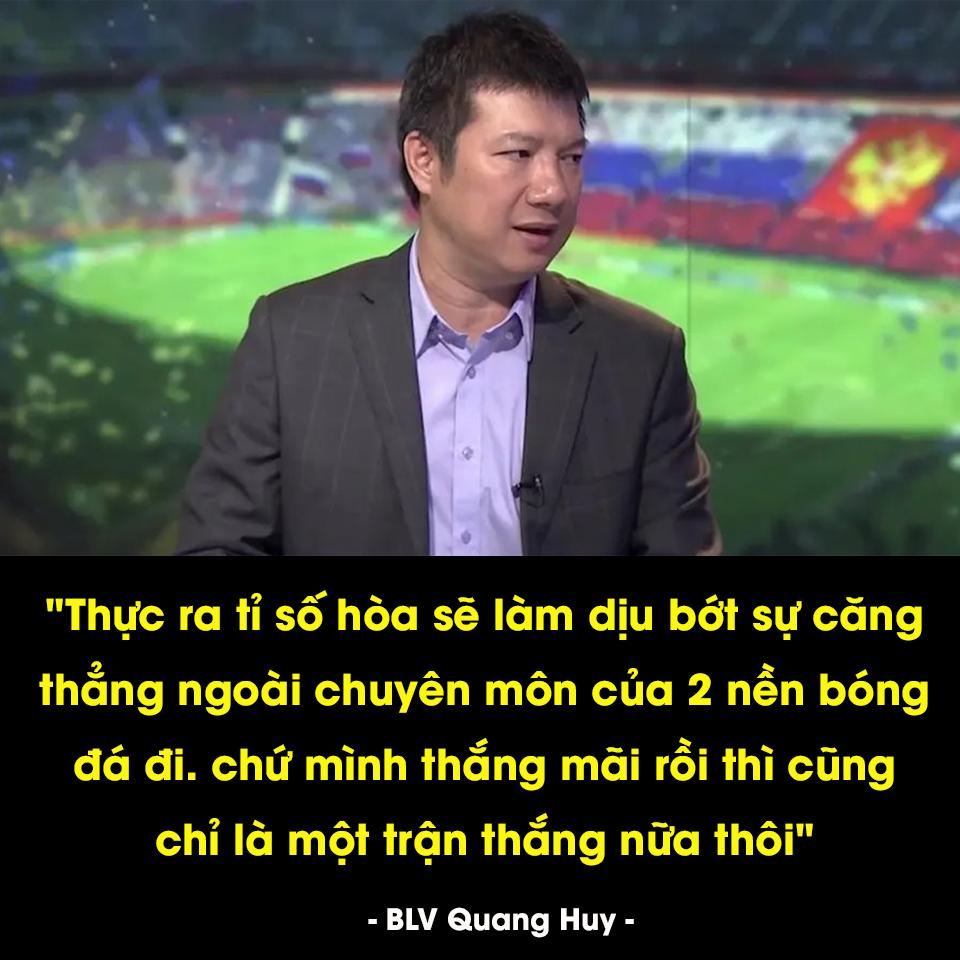 Câu nói khiêm tốn của BLV Quang Huy chiếm sóng MXH khi đội nhà cầm hòa tuyển Thái Lan ở trận mở màn vòng loại World Cup-2