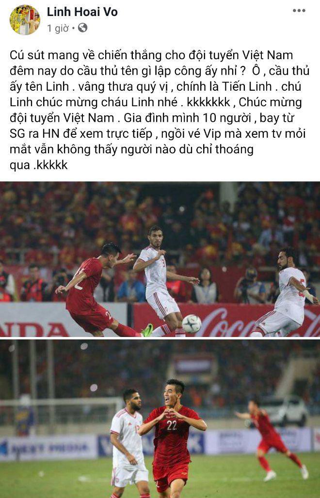 Việt Nam 1-0 UAE: Hoài Linh hờn không được lên TV, Bảo Anh cởi hết ăn mừng-1