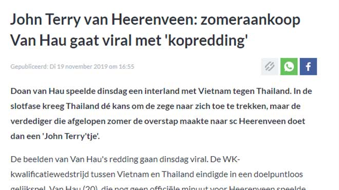 Văn Hậu dũng cảm cứu thua, báo Hà Lan sửng sốt ví như huyền thoại Terry của Chelsea-1