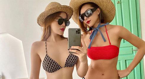 Kỳ Duyên - Minh Triệu là cặp đôi diện bikini sexy nhất showbiz Việt