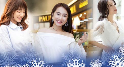 Muốn diện đồ trắng đón Giáng sinh, chị em cứ học tập từ phong cách của bà xã Trường Giang
