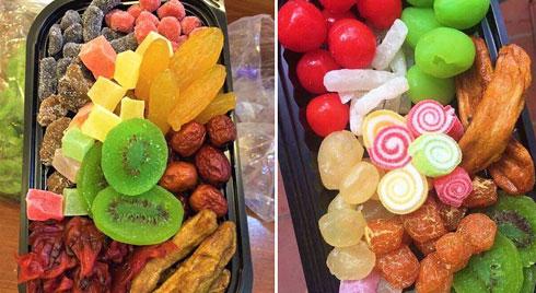 Sát Tết trên thị trường lại xuất hiện loại mứt trái cây mix bán theo hộp với giá rẻ bất ngờ