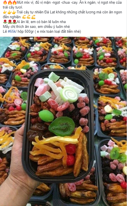 Sát Tết trên thị trường lại xuất hiện loại mứt trái cây mix bán theo hộp với giá rẻ bất ngờ-4