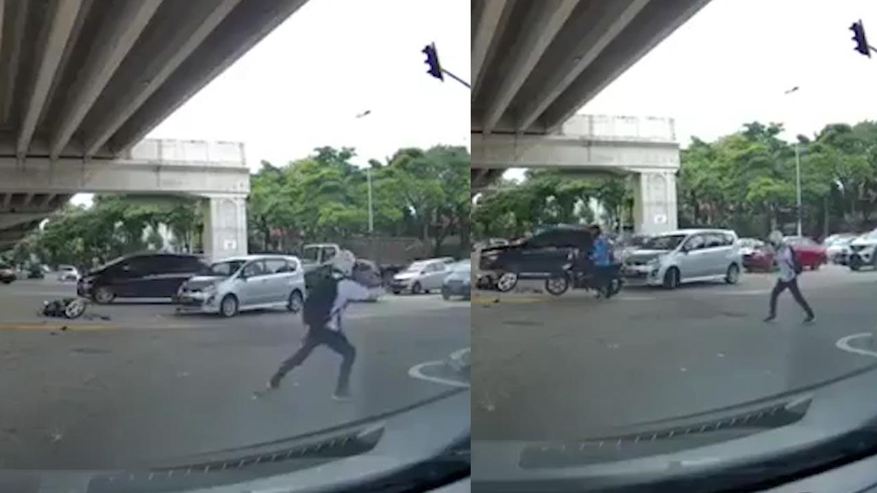 Nam thanh niên có hành động lạ sau khi bị ô tô húc văng