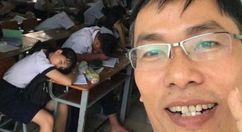 Đi kiểm tra thấy học sinh lăn ra ngủ gật, thầy hiệu phó có cách xử lý cực lầy