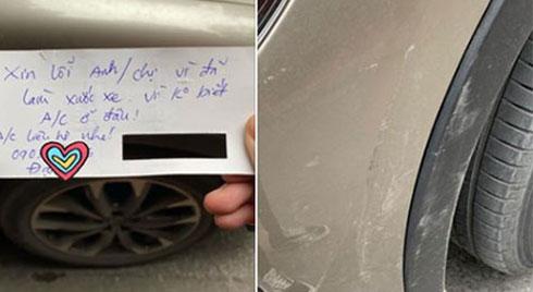 Chiếc ô tô với vết xước và mẩu giấy nhắn xin lỗi kèm số điện thoại khiến bất cứ ai đọc được cũng chẳng thể nổi giận