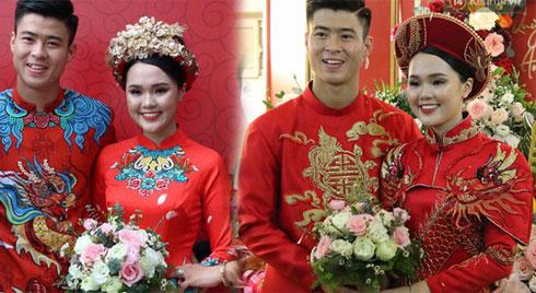Cùng thay tới 2 bộ lễ phục trong ngày ăn hỏi, Duy Mạnh - Quỳnh Anh đúng là cặp đôi