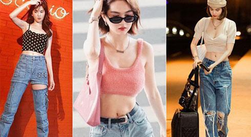 Ngọc Trinh dáng chuẩn nên mặc quần jeans đẹp mê là đương nhiên, mỗi tội lại có đôi lần mix đồ hơi