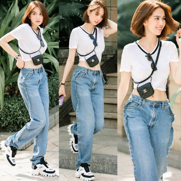Ngọc Trinh dáng chuẩn nên mặc quần jeans đẹp mê là đương nhiên, mỗi tội lại có đôi lần mix đồ hơi lỗi-2
