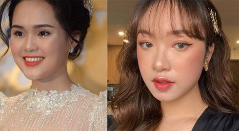 Quỳnh Anh là cô dâu đầu tiên chơi lớn đính đá lên mắt