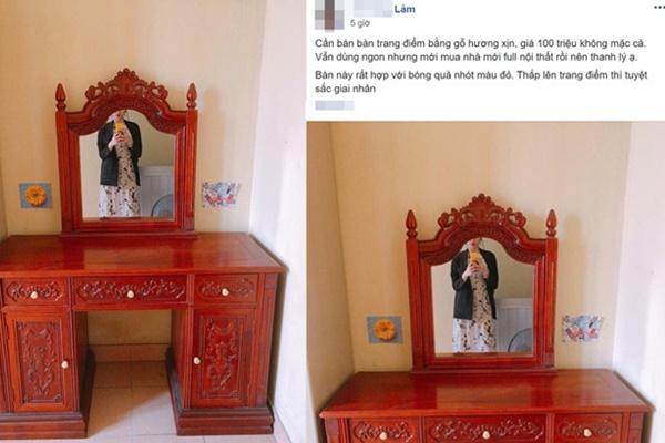 Rao bán bàn trang điểm bằng gỗ xịn, chàng trai bị ném đá vì chi tiết rùng rợn trên chiếc gương-1