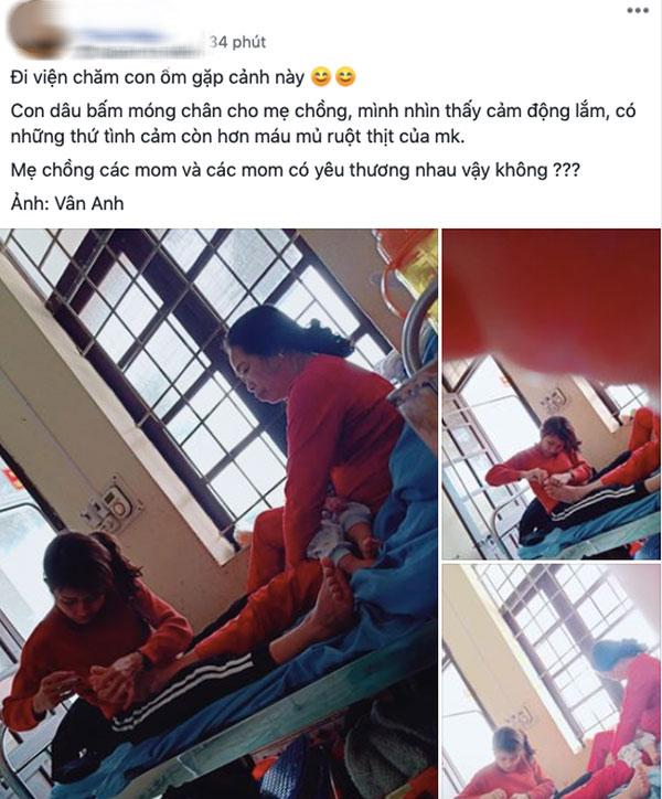 Hình ảnh con dâu cần mẫn ngồi cắt móng chân cho mẹ chồng trên giường bệnh khiến nhiều người xúc động-1