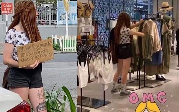Cô gái Tây ngày cầm biển đứng xin tiền ở TP.HCM, tối đi siêu thị mua quần áo