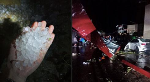 Mưa đá bất ngờ ở Yên Bái, Lào Cai: Hạt mưa to như viên bi, gió quật đổ mái nhà, cây cối đổ rạp xuống đường