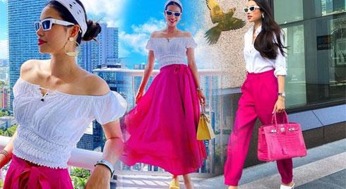 Cuộc sống viên mãn bên Mỹ, Phạm Hương liên tục diện đồ màu hồng ngọt ngào