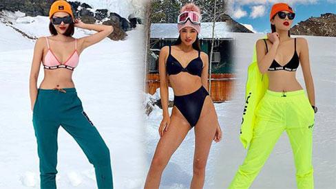 Tưởng mỗi Kỳ Duyên - Minh Triệu táo bạo, Phạm Hương còn bốc lửa hơn khi diện bikini trong tuyết