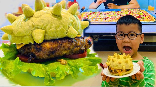 Bánh hamburger hút khách vì in hình virus corona độc đáo
