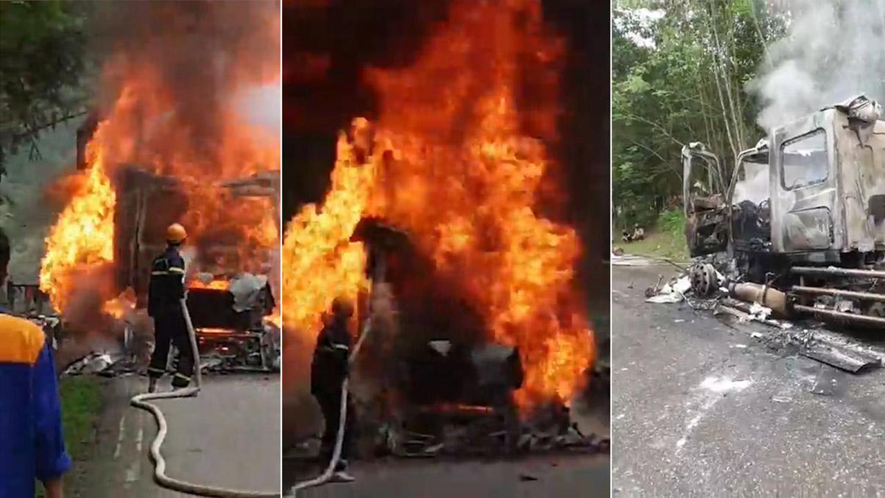Đầu xe container bất ngờ phát nổ, bốc cháy dữ dội