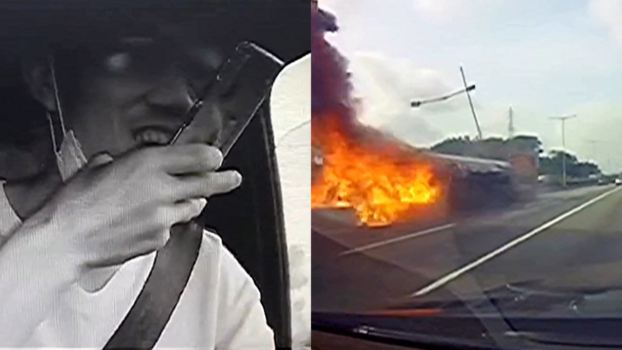Tải xế nghịch điện thoại hút thuốc khiến thùng dầu văng xuống đường bốc cháy