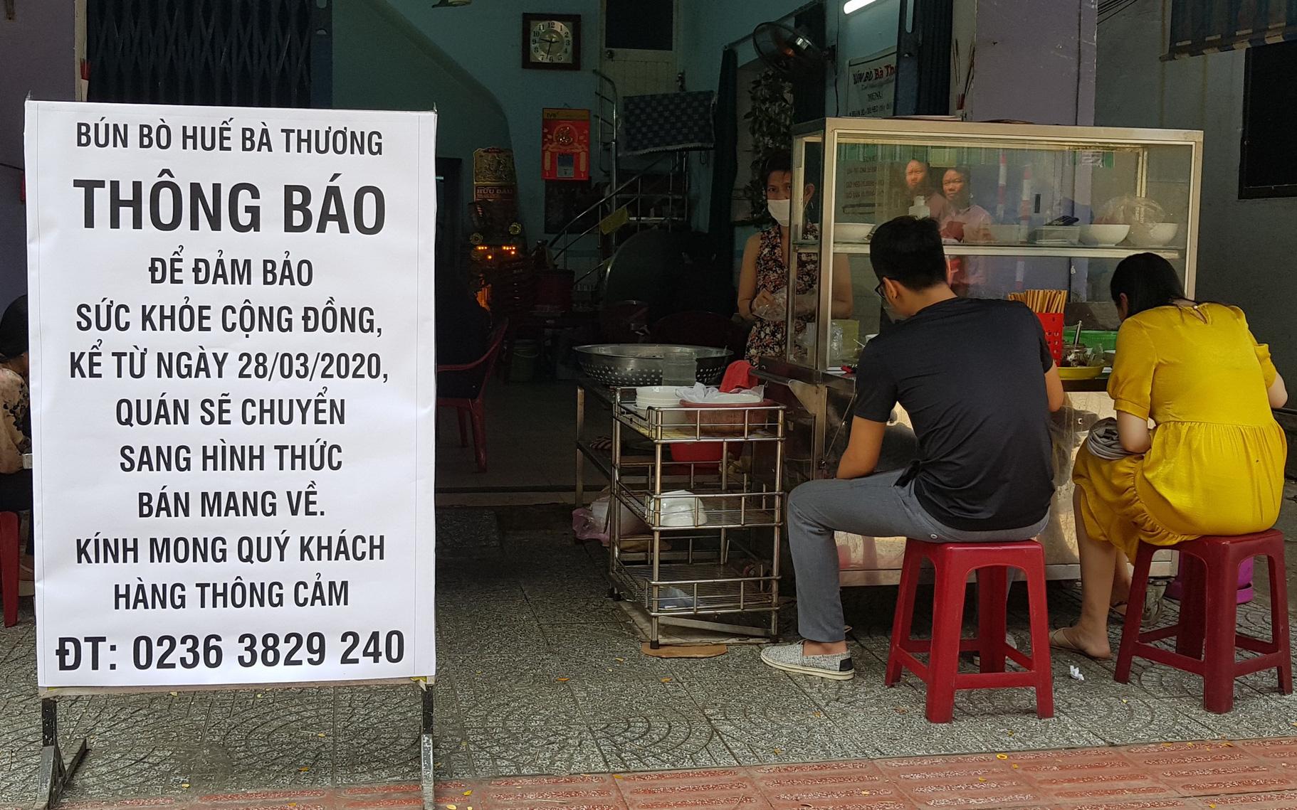 Đà Nẵng tạm dừng tất cả hoạt động phục vụ ăn uống tại chỗ từ 15 giờ ngày 29/3