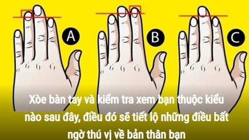 Trắc nghiệm: Xòe bàn tay trái ra xem bạn thuộc kiểu nào, sẽ có những tiết lộ bất ngờ về bản thân bạn