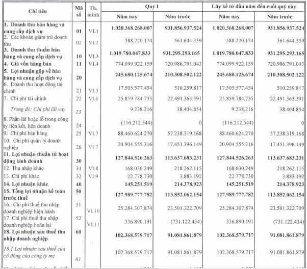 Nhựa Bình Minh (BMP) báo lãi 102 tỷ đồng quý 1, tăng hơn 12% so với cùng kỳ                         -1