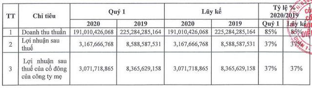 Bóng đèn Điện Quang (DQC): Quý 1 lãi 3 tỷ đồng, giảm 65% so với cùng kỳ                         -1