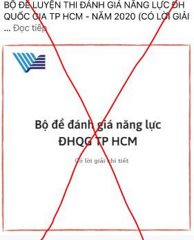 Nhiều trường hợp giả mạo Đại học Quốc gia TP.HCM để bán tài liệu ôn thi Đánh giá năng lực-2