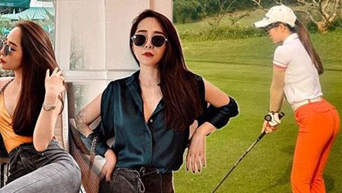 Chỉ diện đồ thể thao ra sân golf, Quỳnh Nga cũng khoe được vòng 3 nảy nở