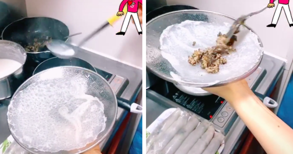 Cô gái chia sẻ cách làm bánh cuốn bằng chảo chống dính cực đơn giản