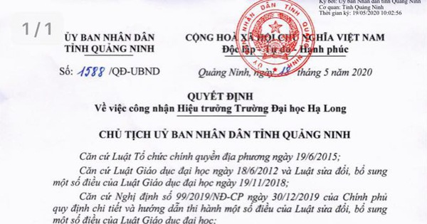 Chủ tịch tỉnh Quảng Ninh Nguyễn Văn Thắng kiêm nhiệm chức danh Hiệu trưởng trường Đại học Hạ Long