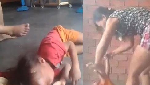Clip : Phẫn nộ cảnh người phụ nữ bóp cổ, dùng chân đạp liên tiếp vào người bé trai ở Bình Dương