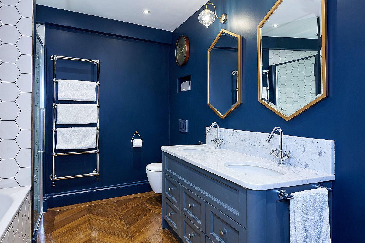Phòng tắm mùa hè trở nên mát lịm với hai gam màu trắng - xanh-10