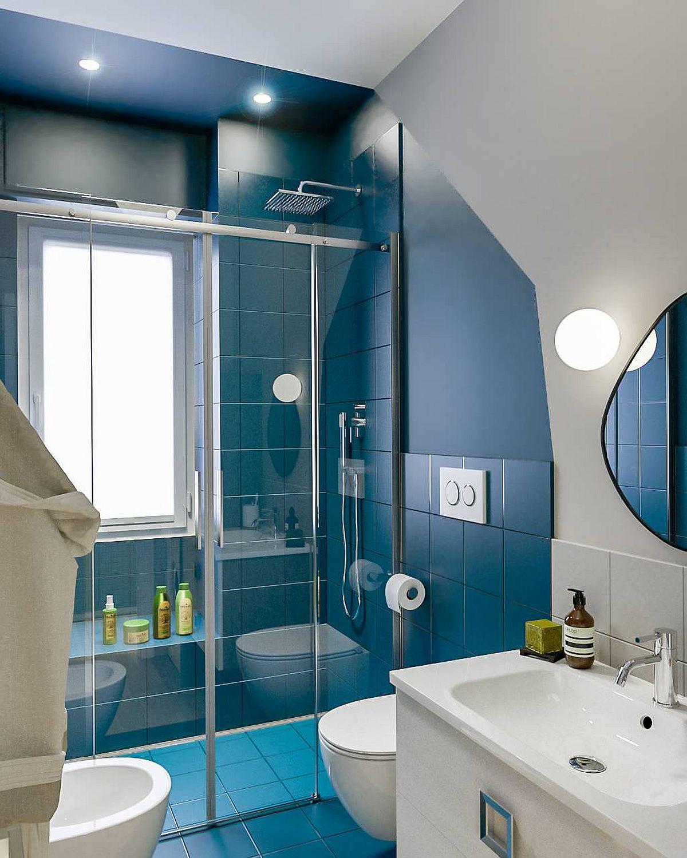 Phòng tắm mùa hè trở nên mát lịm với hai gam màu trắng - xanh-4