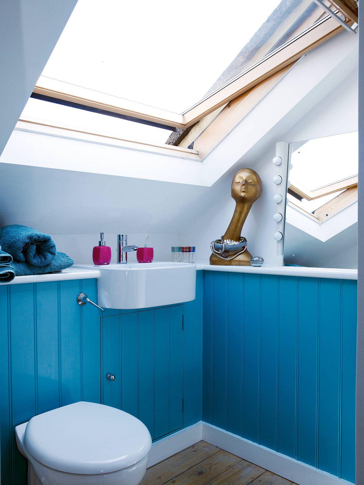 Phòng tắm mùa hè trở nên mát lịm với hai gam màu trắng - xanh-6
