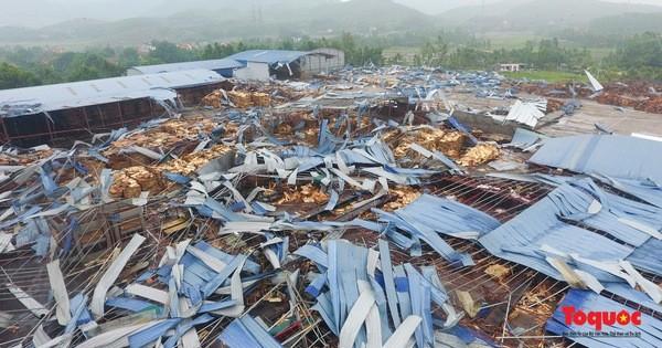 Hiện trường vụ lốc xoáy kinh hoàng khiến  hơn 20 người thương vong ở Vĩnh Phúc