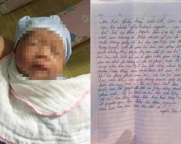 Phát hiện bé trai bị mẹ bỏ rơi kèm lá thư