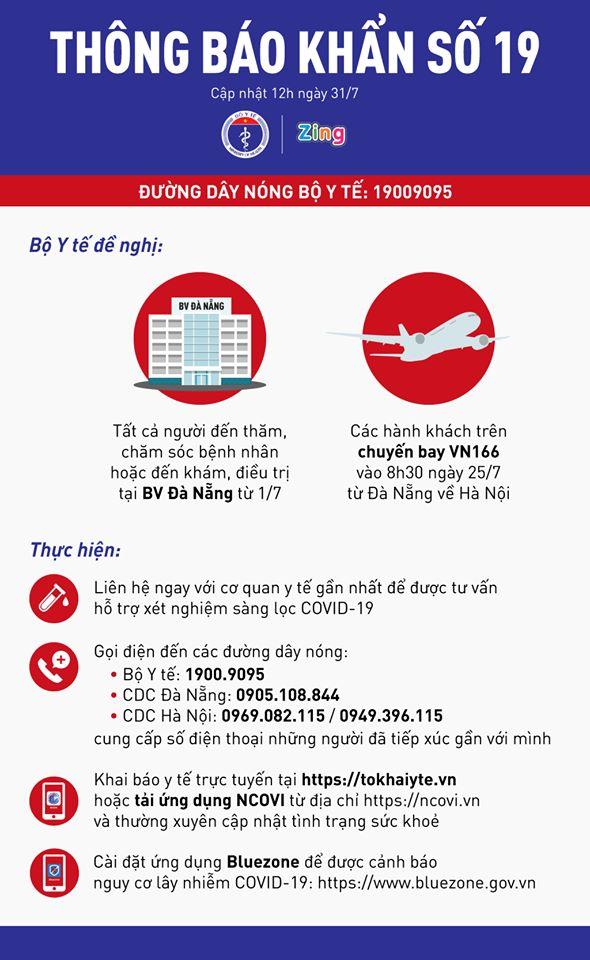Bộ Y tế tìm người đến bệnh viện Đà Nẵng và hành khách trên chuyến bay VN166-2