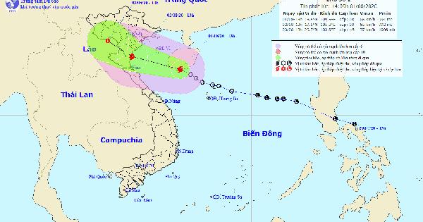 Bão số 2 giật cấp 10 đang hướng vào các tỉnh Bắc Trung bộ