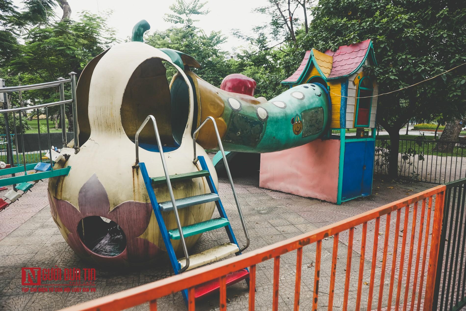 Hà Nội: Xót xa những hạng mục vui chơi cho trẻ xuống cấp, hư hỏng tại công viên Thống Nhất-11